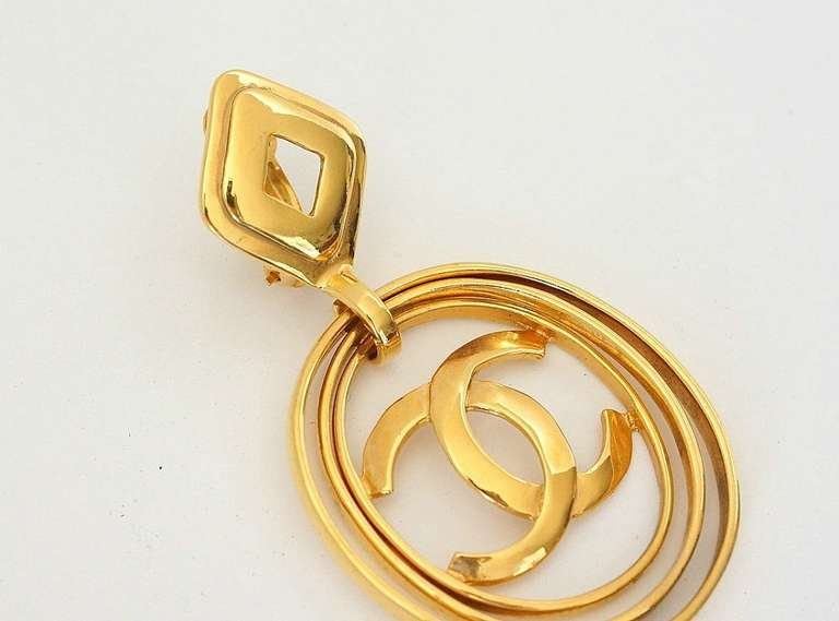 CHANEL vintage hoop earrings worn 3 ways bold and fabulous rare 4