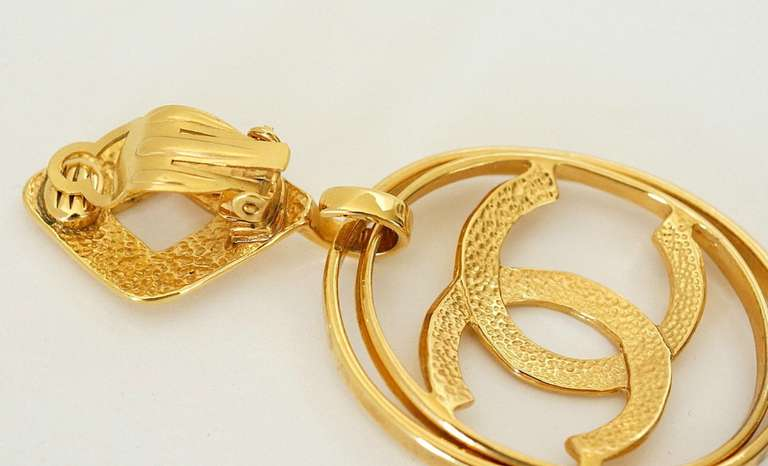 CHANEL vintage hoop earrings worn 3 ways bold and fabulous rare 6
