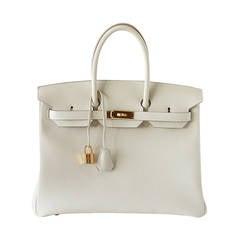 Hermes Birkin 35 Craie Bag Togo Gold Hardware