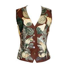 HERMES vest scarf print rare CITROUILLES ET COLOQUINTES vintage 40  6
