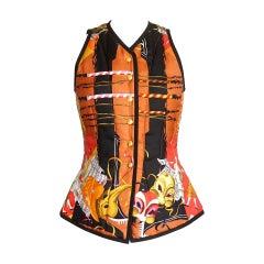 Hermes Vest Carnavale De Venise Scarf Print Exquisite Shape Vintage 38 / 4