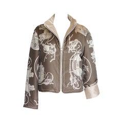 Hermes Jacke Vintage Sehr Selten Ex Libris Wendbar Schal Print L