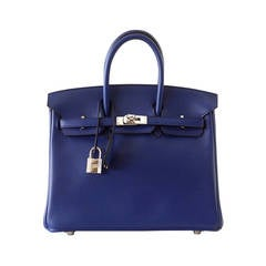 Hermes Birkin 25 Exotic Blue Sapphire Swift Palladium