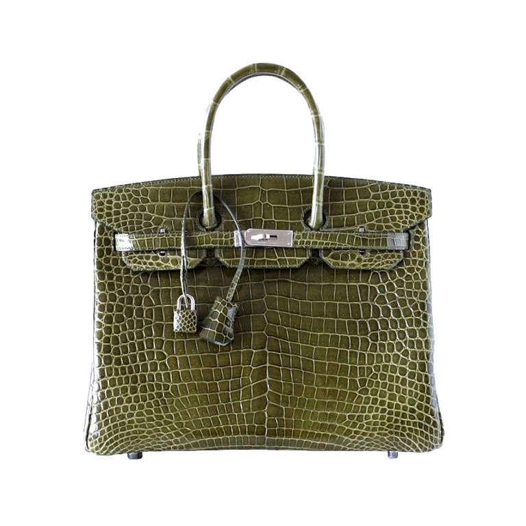 1fd097994d80 Hermes Birkin 35 Bag Vert Veronese Porosus Crocodile Palladium Army Green  For Sale