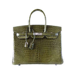Hermes Birkin 35 Bag Vert Veronese Porosus Crocodile Palladium Army Green