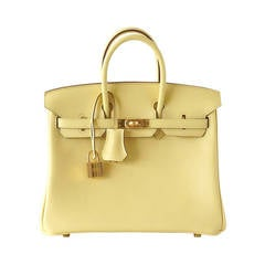 HERMES BIRKIN 25 JAUNE POUSSIN swift leather gold hardware