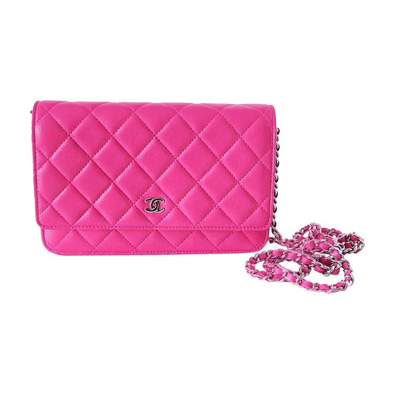 CHANEL Bag / Wallet On A Chain Pink Lambskin Cross Body NWT Divine 1