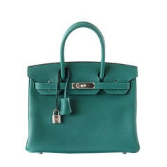 Hermes Birkin 30 Bag Exotic Emerald Toned Malachite Clemence Palladium