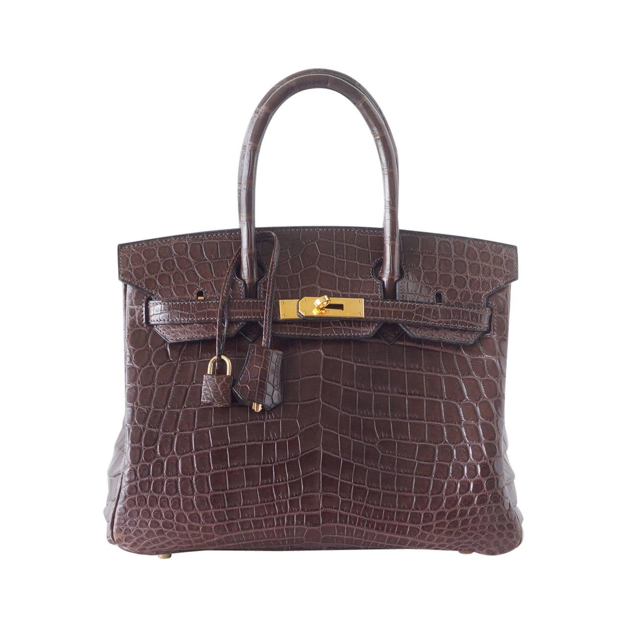 HERMES BIRKIN 30 bag Matte Havanne Crocodile gold hardware rare toile interior For Sale