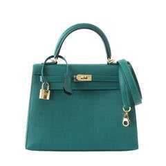 Hermes Kelly 25 Bag Sellier Malachite Gold Hardware Epsom