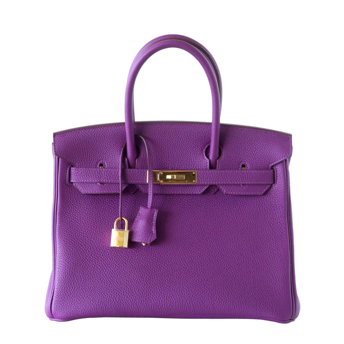Hermes Birkin 30 Anemone Purple Togo Gold Hardware Exotic Beauty