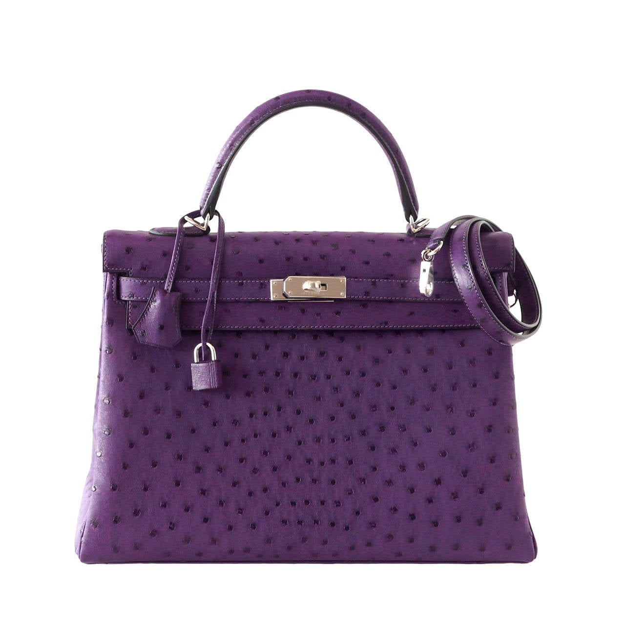 Hermes Kelly 35 Ostrich Rare Purple Violine Jewel Palladium Hardware For Sale