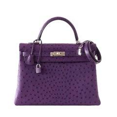 Hermes Kelly 35 Ostrich Rare Purple Violine Jewel Palladium Hardware
