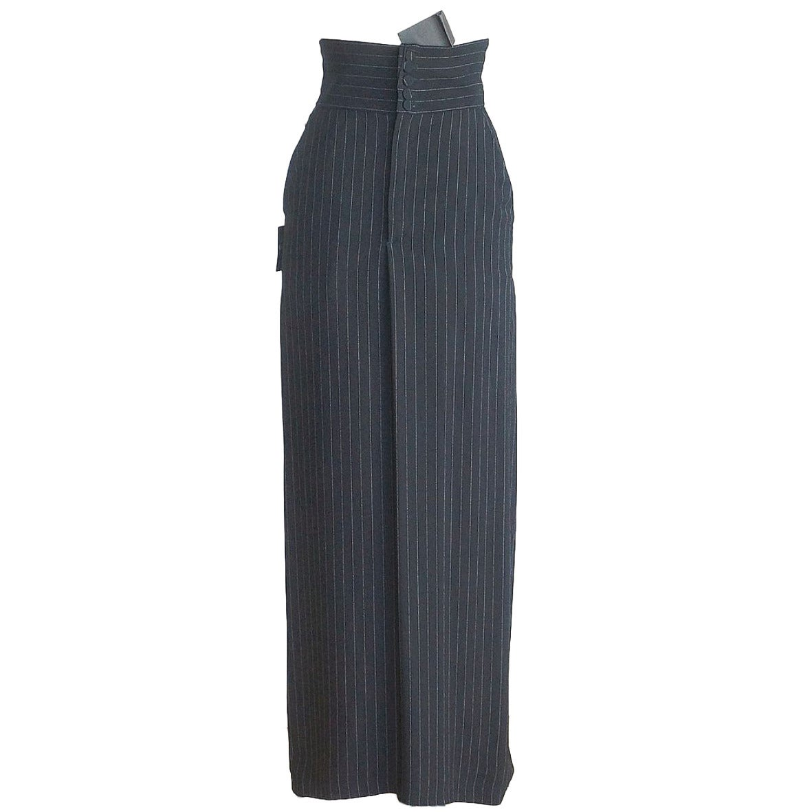 Jean Paul Gaultier Skirt Vintage Menswear Influenced Pinstripe Rear Dtl 40 6 nw