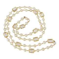 Chanel Chicklet Sautoir 1981 Vintage Necklace Rare Clear Crystals