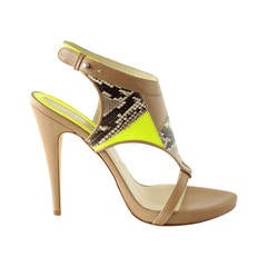 Matthew Williamson Shoe Nude Leather w/ Snake and Green Neon Patent 39 / 9