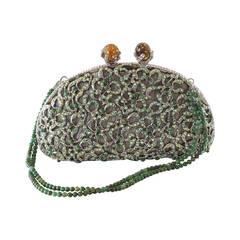EDIDI Bag Exquisite Swarovksi Diamante Jade Accented Evening Purse  NWT