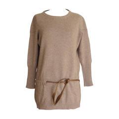 Brunello Cucinelli Sweater Cashmere Pullover Leather Tie XS mint