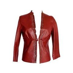 GUCCI jacket burgundy leather laser cut edges 3/4 sleeve 42 Tom Ford