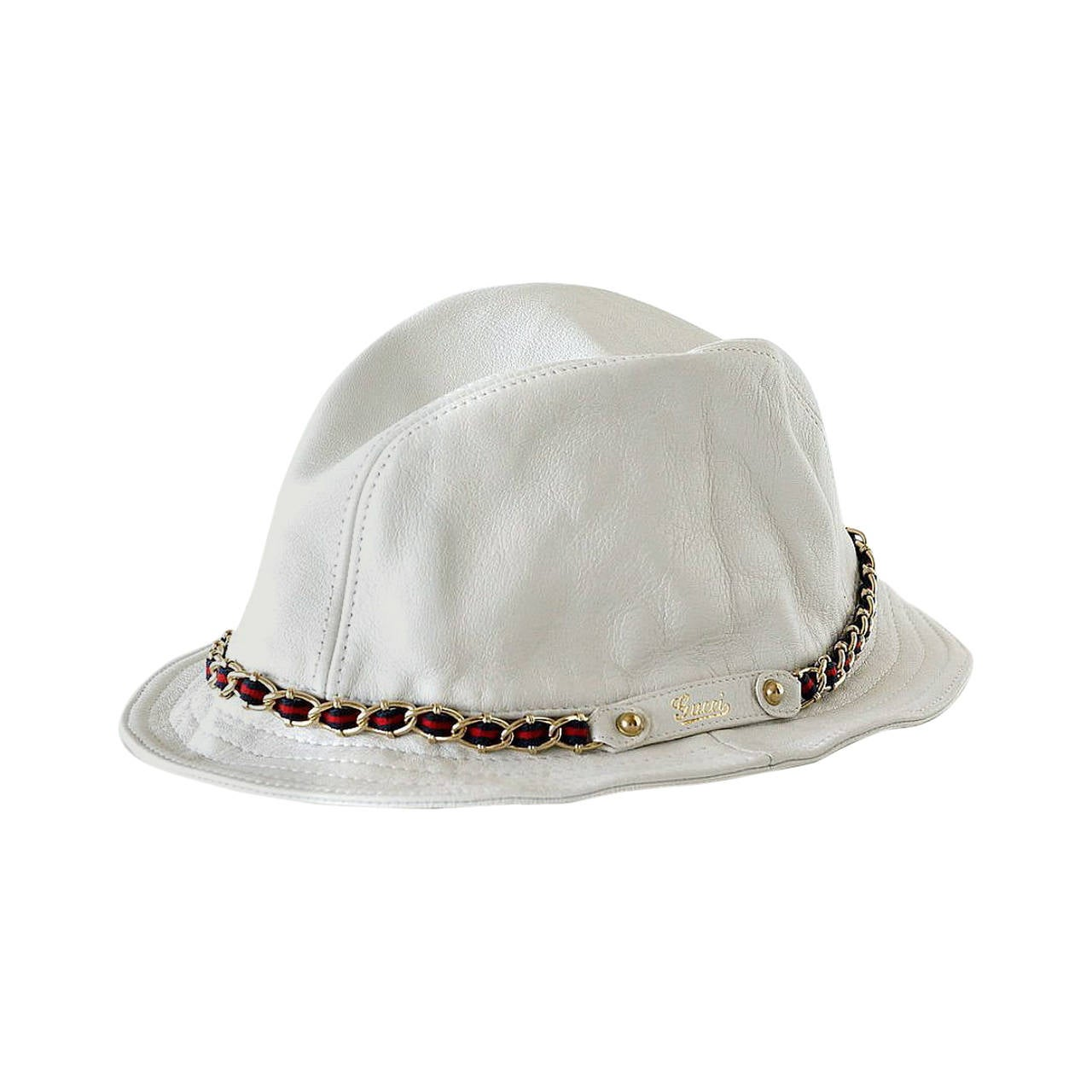 gucci hat divine white leather chain detail bucket style m runs to s at 1stdibs. Black Bedroom Furniture Sets. Home Design Ideas