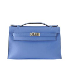 Hermes Kelly Pochette Sublime Blue Paradis Swift Palladium