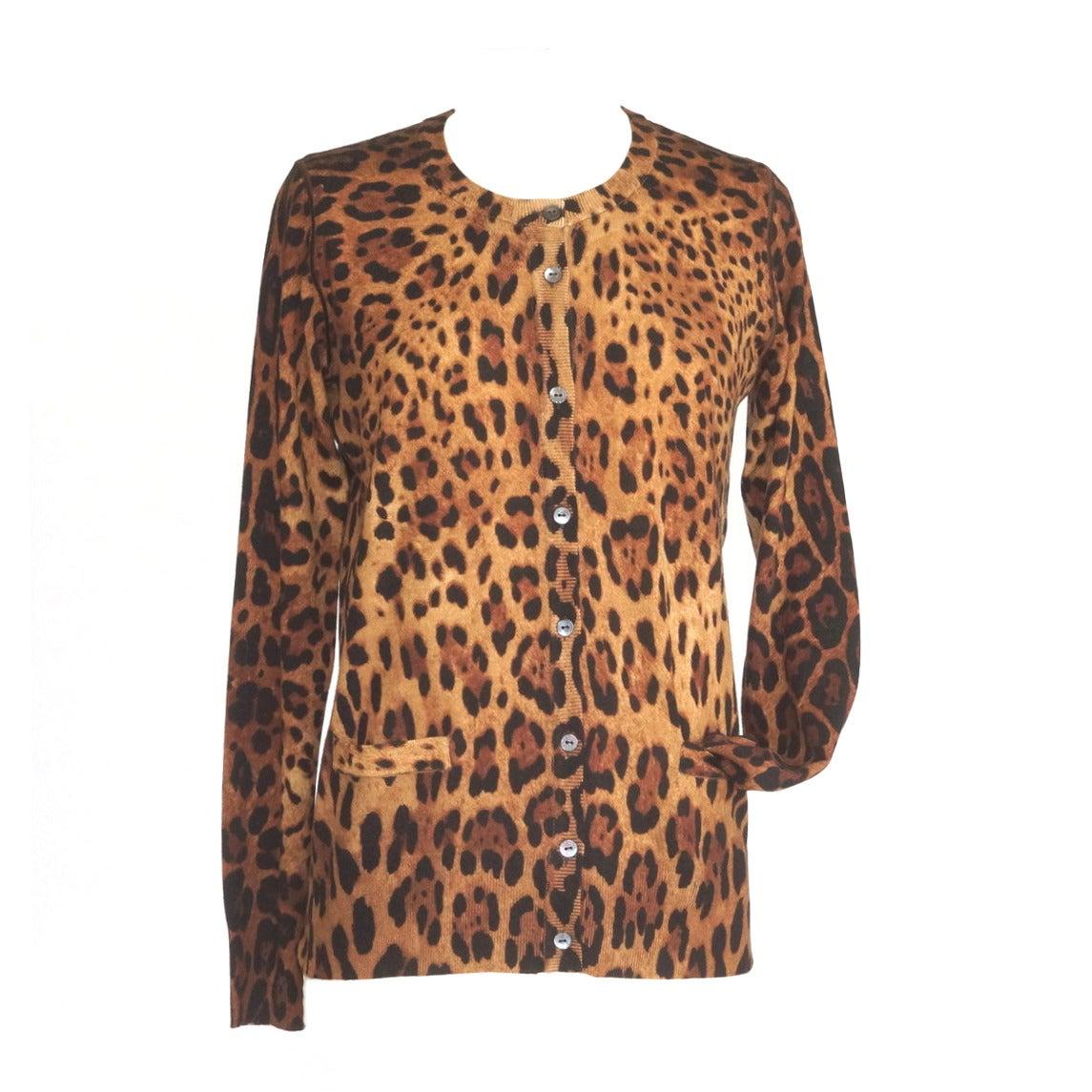DOLCE&GABBANA sweater leopard print cardigan silk cashmere blend 42  8