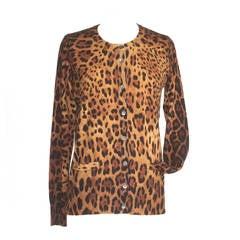 Dolce&Gabbana Cardigan Leopard Print Cardigan Silk  Cashmere 42 / 8