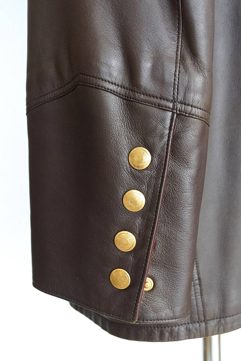Gray Hermes Brown Leather Vintage Jacket Bordeaux Lined Cashmere / Wool 38 / 6 For Sale