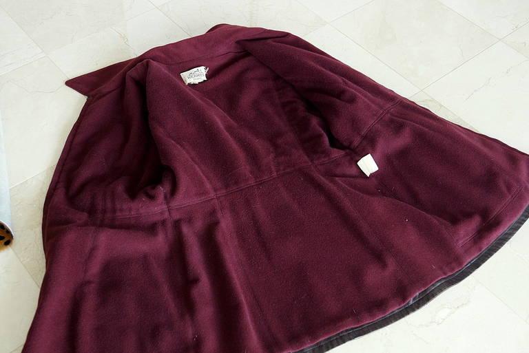 Hermes Brown Leather Vintage Jacket Bordeaux Lined Cashmere / Wool 38 / 6 For Sale 1
