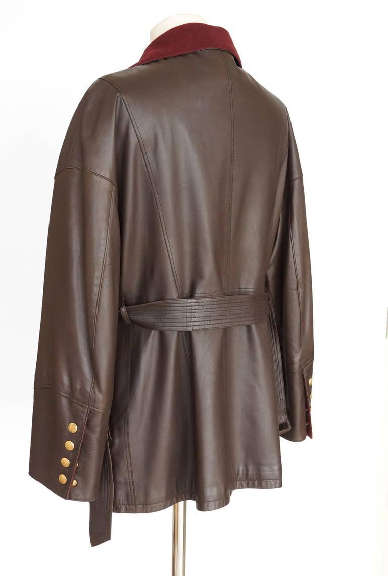 Women's Hermes Brown Leather Vintage Jacket Bordeaux Lined Cashmere / Wool 38 / 6 For Sale