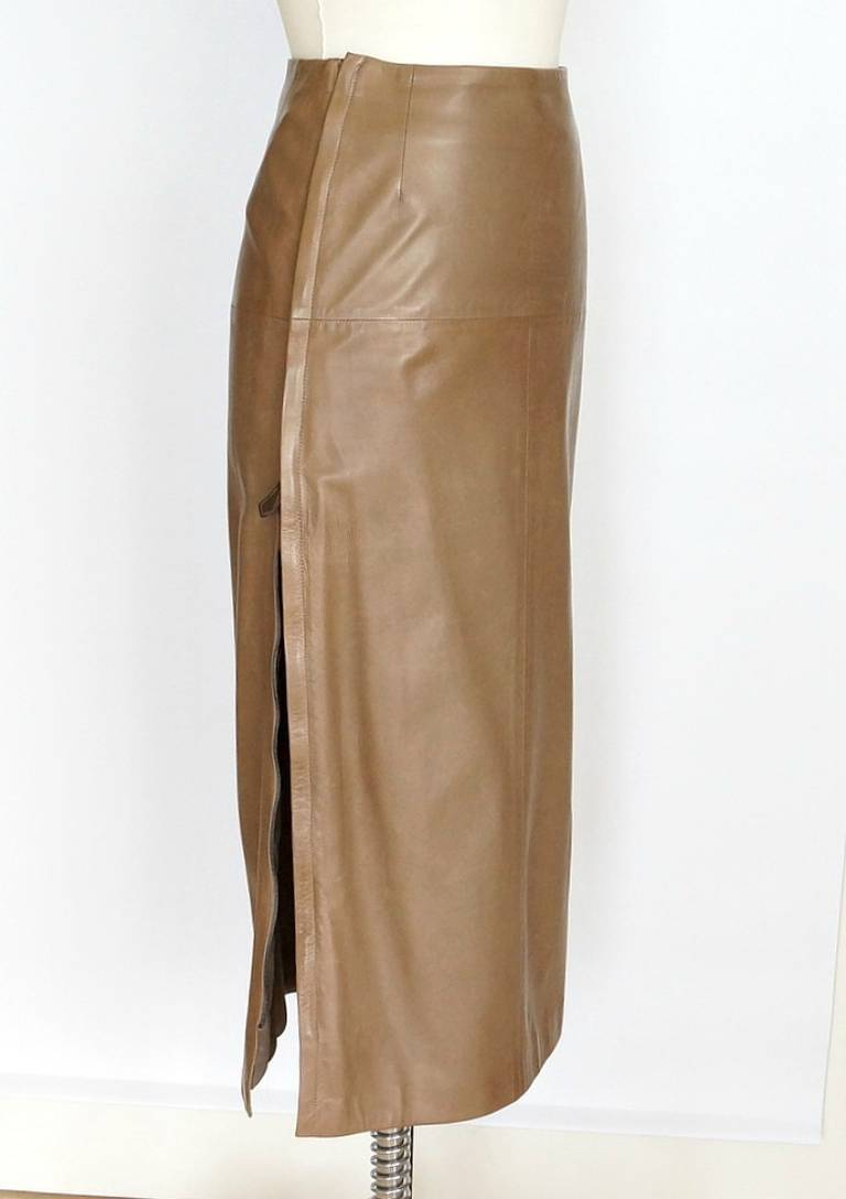 HERMES skirt long soft leather side zippers leather toggles 38 fits 4 to 6 2