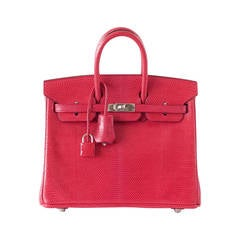 Hermes Birkin 25 Ultra Rare Coveted Lizard Rouge Exotic Palladium Bag