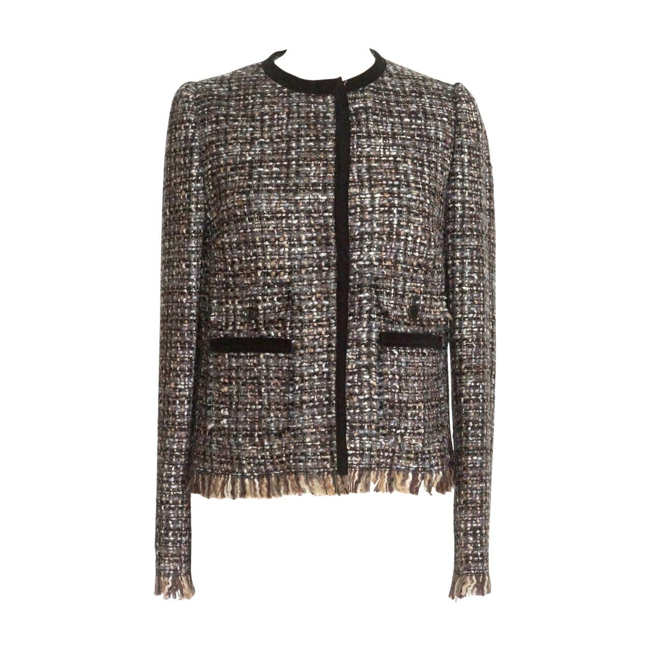 Dolce&Gabbana Jacket Fantasy Tweed Velvet Trim Fringe Hem 44 / 8