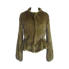 ROBERTO CAVALLI jacket Mink fur moss green drawstring 38 4 to 6