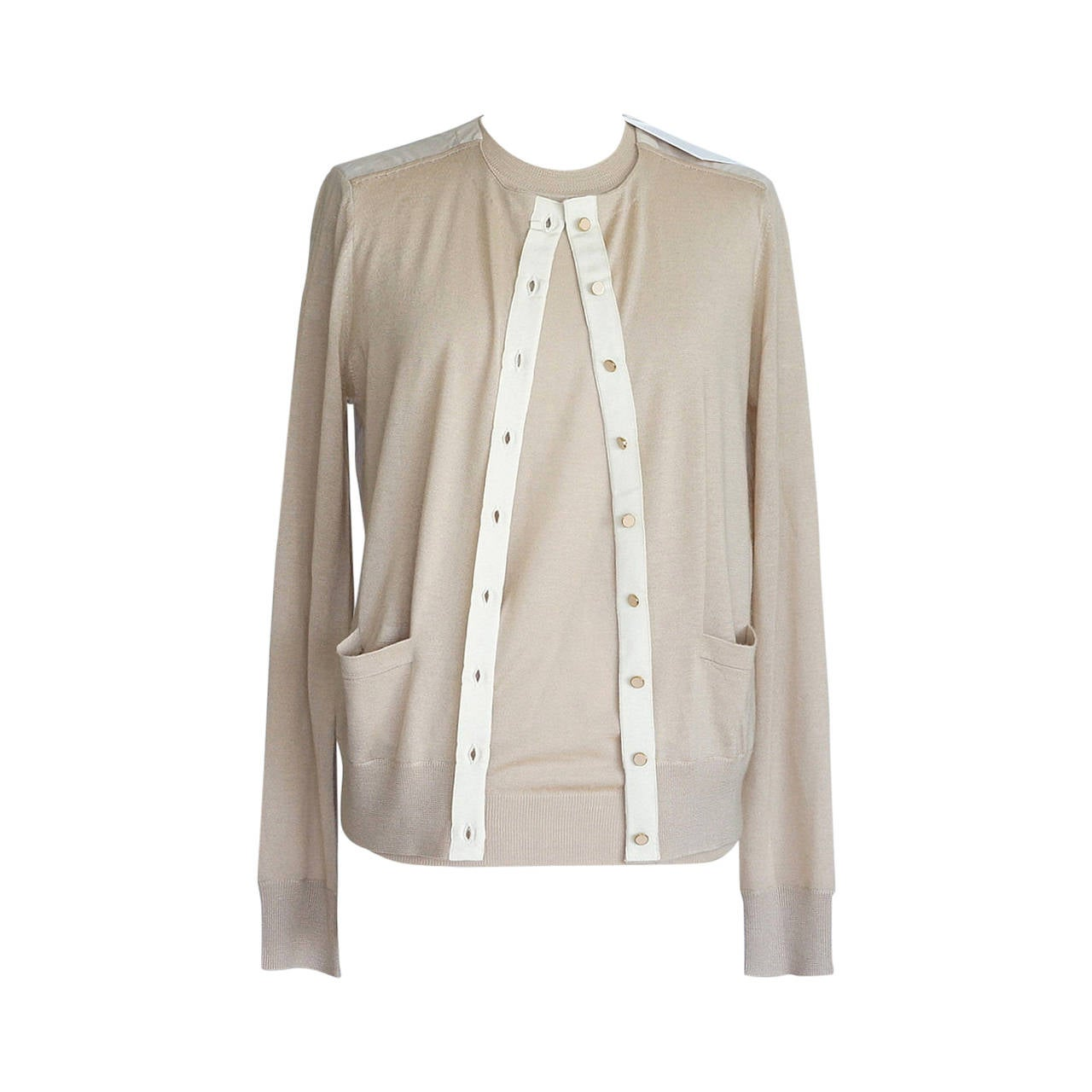 CHLOE Twinset nude cashmere silk semi sheer rear M nwt For Sale at ...