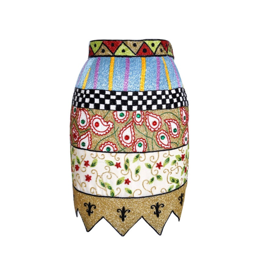 TODD OLDHAM Skirt Remarkable Beaded Vintage S For Sale