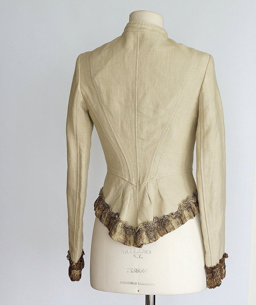 ROBERTO CAVALLI  jacket beautifully shaped animal trim military peplum 40 6 2