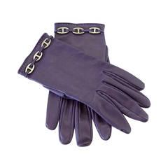 HERMES gloves vintage wrist length RAISIN Chaine D'Ancre palladium hardware 7