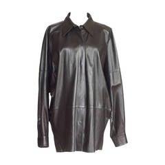 Yves Saint Laurent Vintage Supple Leather Long Shirt Superb Draping 44 / 10