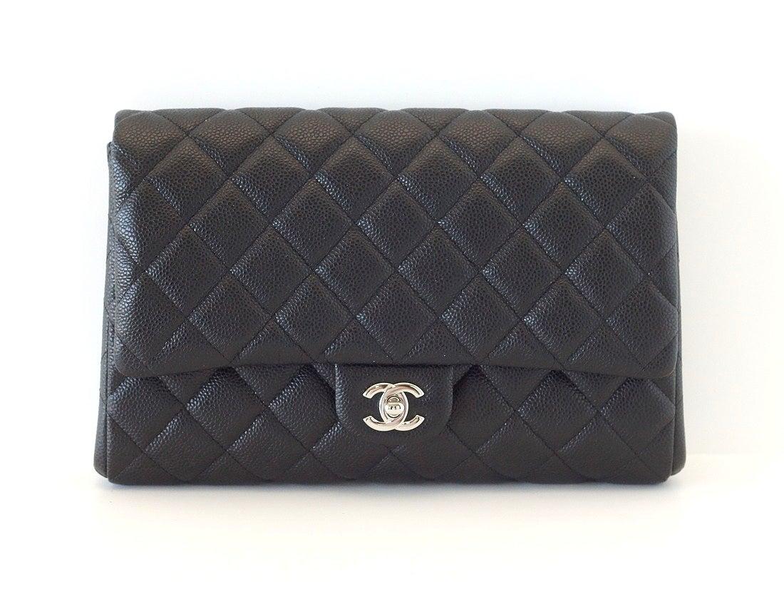 CHANEL Bag Flat Flap Black Caviar Clutch / Shoulder new 2