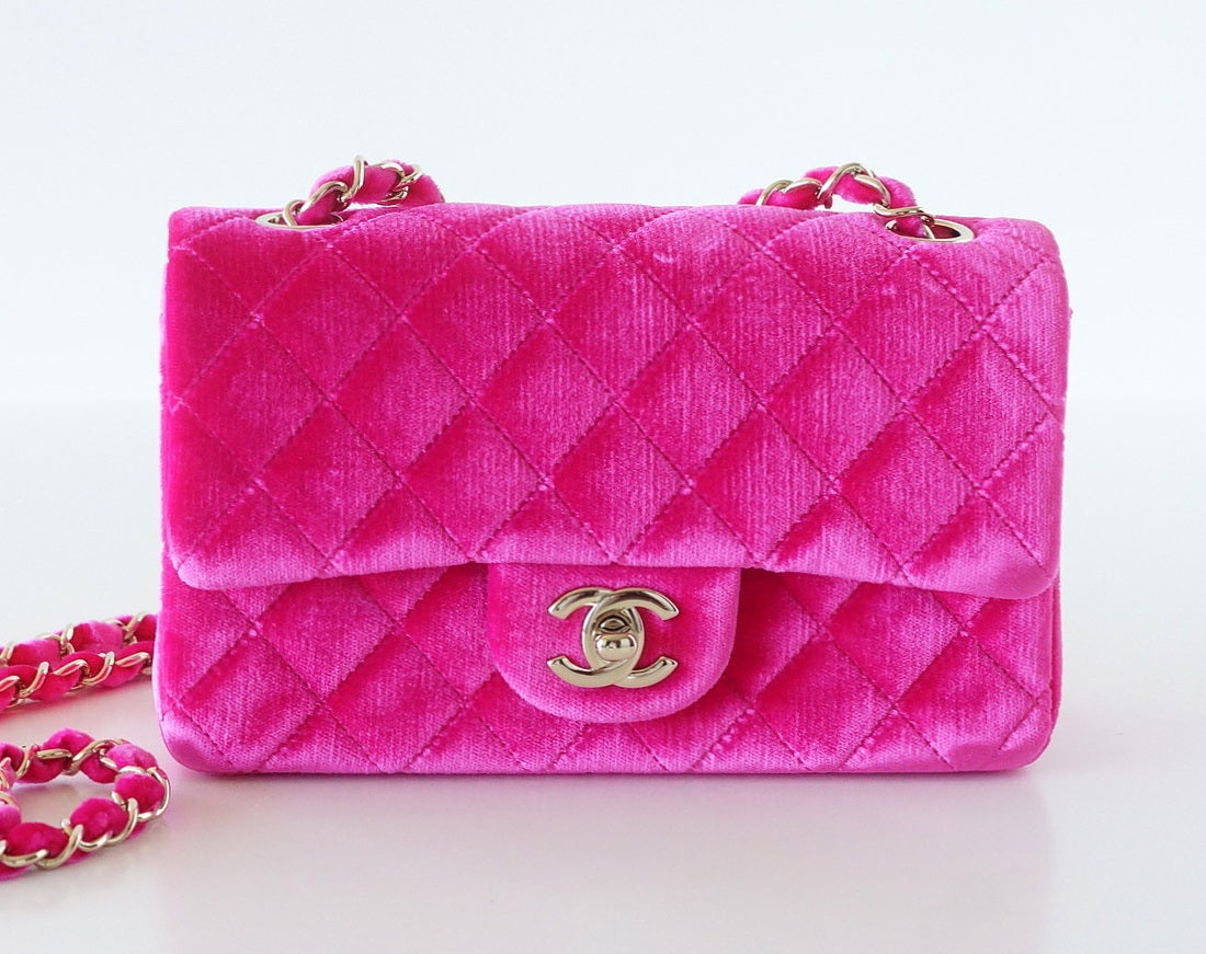 3a310b9d8867 Absolutely divine mini rectangular flap bag in lush velvet. Iridescent  Fuchsia pink with lux gold