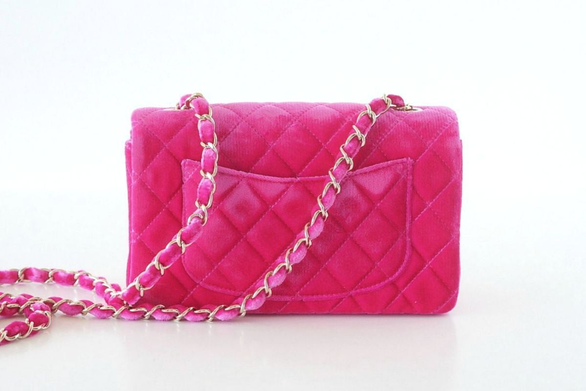 Pink CHANEL bag mini rectangular velvet Fuchsia pink gold hardware For Sale