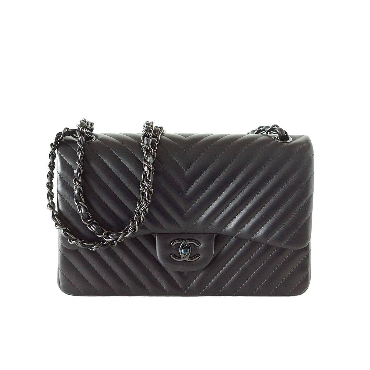 CHANEL bag Chevron So Black jumbo classic double flap quilted NeW For Sale bcaef6e59