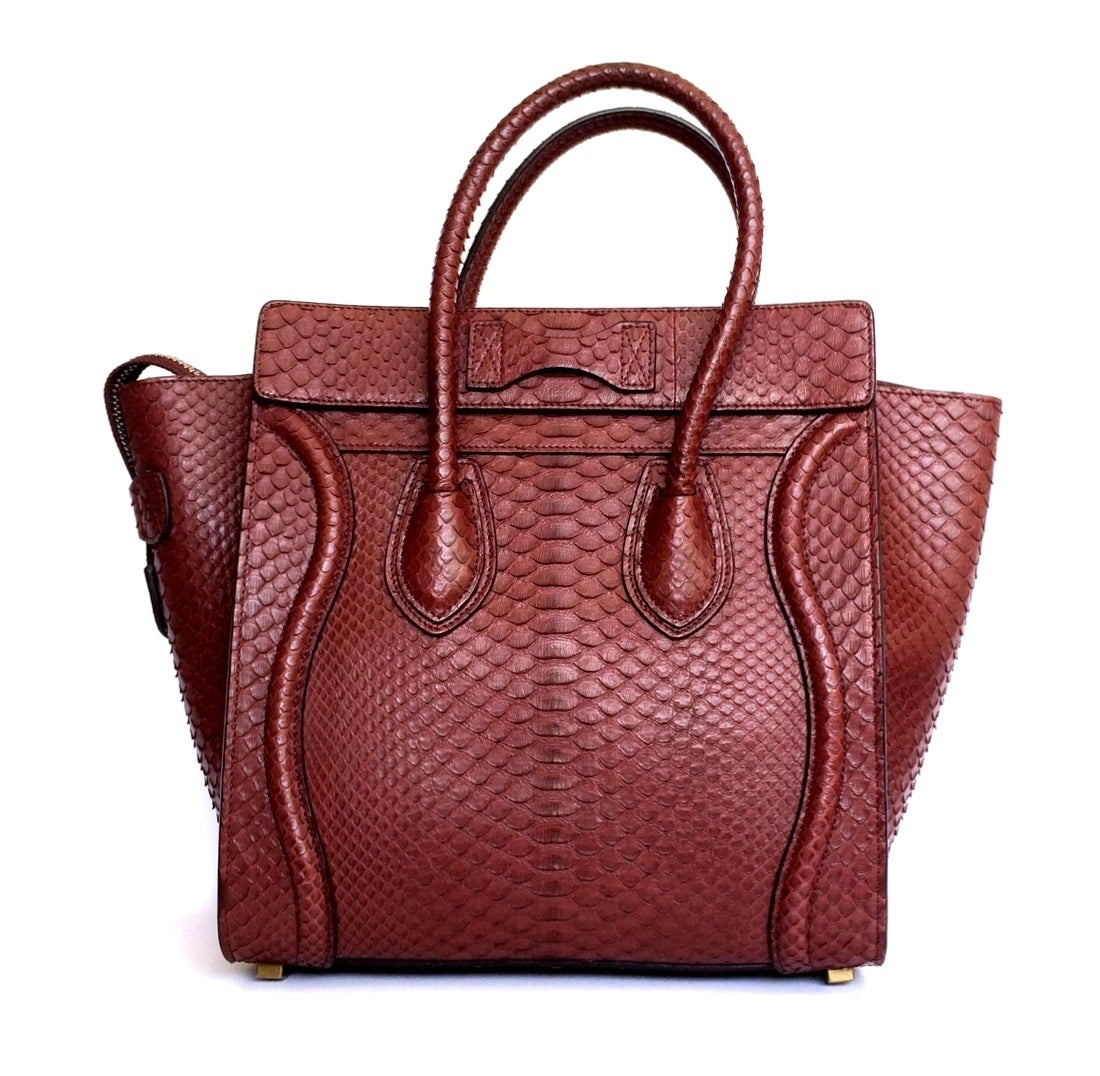 CELINE bag Mini Luggage python deep burgundy sold out colour 3