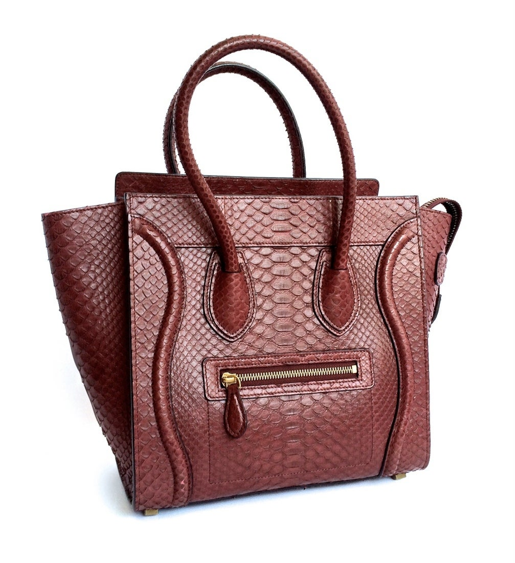 CELINE bag Mini Luggage python deep burgundy sold out colour 2