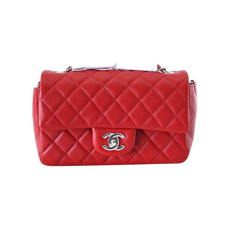 8ffe4764740c CHANEL bag classic flap Red mini lambskin NEW / box at 1stdibs