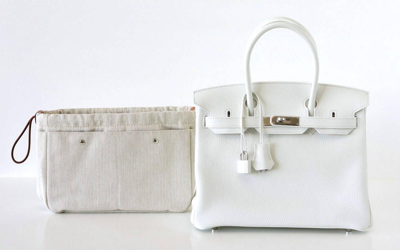 HERMES BIRKIN 30 bag stark WHITE Clemence palladium w/ Fourbi ...