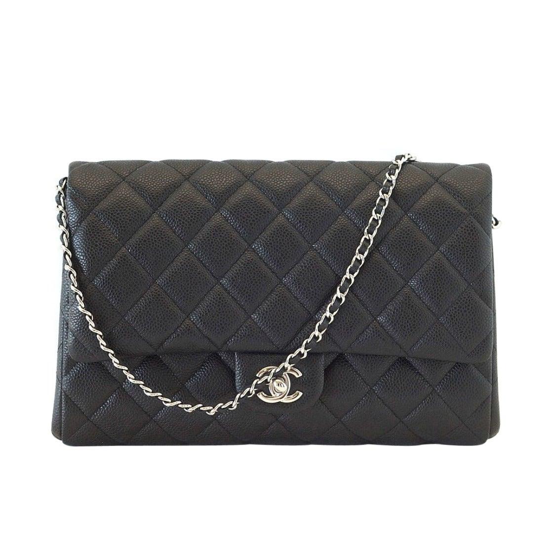 CHANEL Bag Flat Flap Black Caviar Clutch / Shoulder new 1