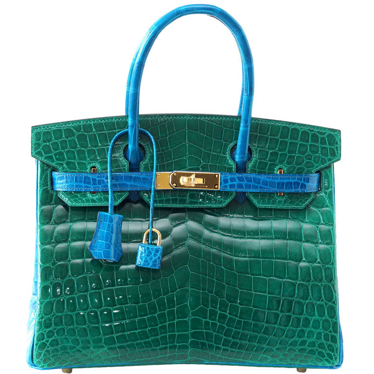 Hermes Birkin Bag 30 Emerald Green Blue Izmir Crocodile Bi Color Horseshoe For