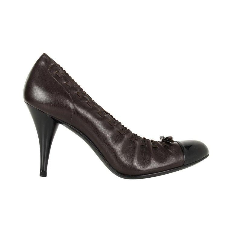Women's Chanel Shoe Brown Black Toe Heel Round Toe Ballet Style Heel 7.5  37.5 For Sale